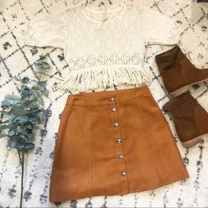 H&M | Faux Suede Tan Button Front Skirt | 10